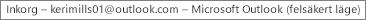 Etiketten högst upp i fönstret indikerar namnet på den person som äger Inkorgen och att Outlook körs i felsäkert läge