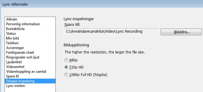 Skärmdump av inspelningens upplösning och plats