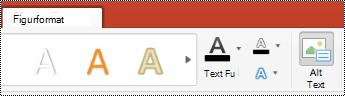 Knappen Alternativ text för figurer i menyfliksområdet i Powerpoint för Mac