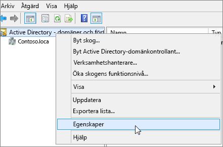 Högerklicka på Active Directory - domäner och förtroenden och välj Egenskaper