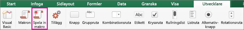 Spela in makro i Excel för Mac