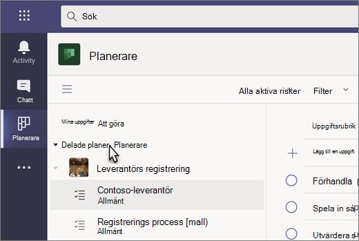 Skärmbild av appen Uppgifter i Teams, som för närvarande heter Planner