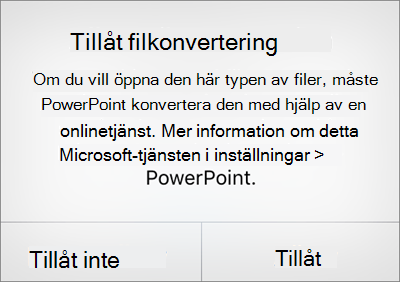Visar ODF-sekretessprompten i PowerPoint för iPhone