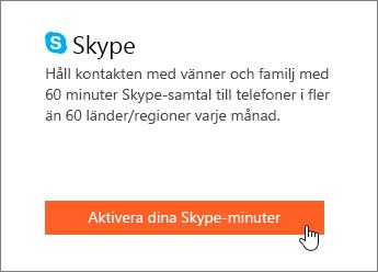 Skärmbild som visar var du aktiverar Skype-minuter.