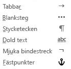 Det här är de formateringstecken som går att använda i e-postmeddelanden.