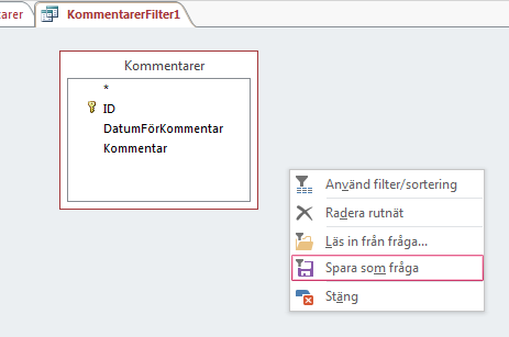 Snabbmeny i Avancerat filter/sortering
