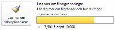 Dokumentmätare i SharePoint Workspace när mellan 7500 och 9999 dokument används