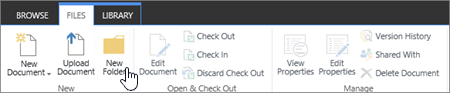 Bild av menyfliksområdet SharePoint-filer med Ny mapp markerat.