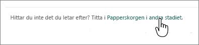 SharePoint online-papperskorgen med andra nivåns länk markerad