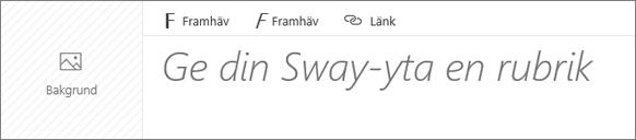 Skärmbild av inmatningsrutan där du döper din Sway-yta.