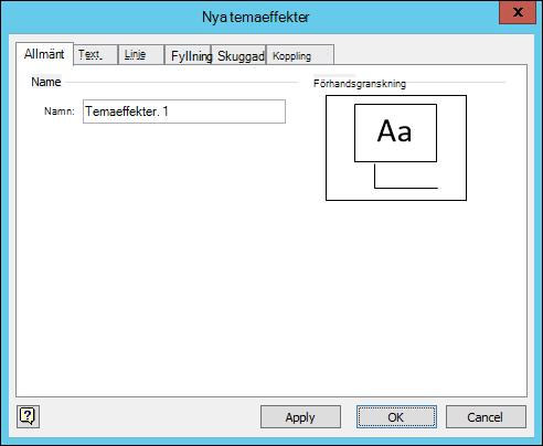 Skärmbild som visar dialogrutan Skapa nya temaeffekter