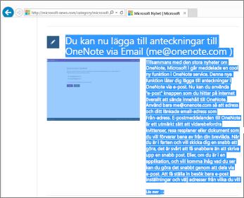 Skärmbild med en del av webbsidan markerad för kopiering.