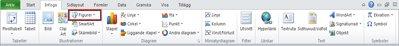 Fliken Infoga med Figurer markerade, i Excel 2010.