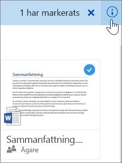 Skärmbild av att markera ett objekt och klicka på informationsikonen