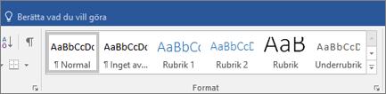 Format på fliken Start i Word i Office 365