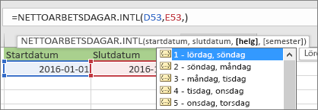 IntelliSense-lista som visar 2 – söndag, måndag; 3 – måndag, tisdag osv.