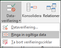Ringa in ogiltiga data i menyfliksområdet