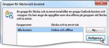 Dialogrutan Skicka/ta emot grupper
