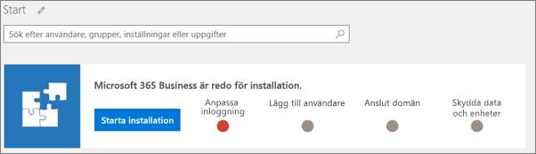 Skärmbild av installationsguiden för Business Cloud Suite.