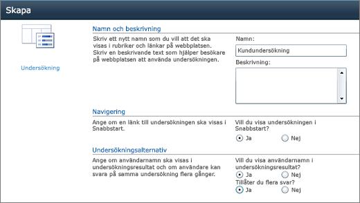 SharePoint 2010 sida med undersökningsalternativ
