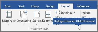 Dialogruteikonen för Utskriftsformat i Word.