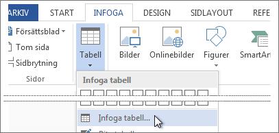 Infoga tabell