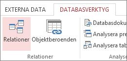 Kommandot Relationer på fliken Databasverktyg