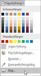 Skärmbild av alternativet Figurfyllning på fliken Format i Publisher.
