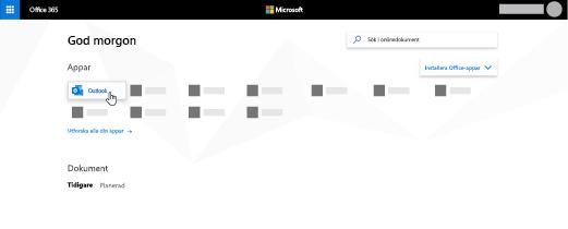 Hemsidan för Office 365 med appen Outlook markerad