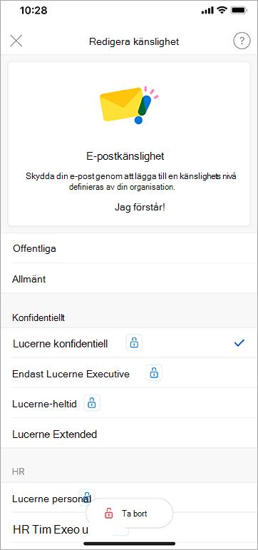 Skärmbild av känslighetsetiketter i Outlook för iOS