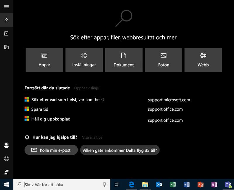 Sök i Windows 10