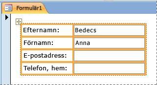Fält med en staplad layout i ett formulär