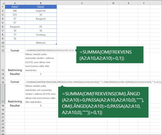 Exempel på kapslade funktioner för att räkna antalet unika värden bland dubbletter