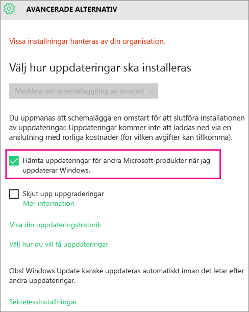 Avancerade alternativ i Windows Update