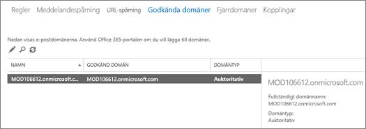 Skärmbilden visar sidan Godkända domäner i administrationscentret för Exchange. Information om namnet, godkänd domän och domäntyp visas.