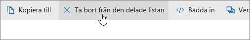 En skärmbild som visar knappen Ta bort från min lista med delade objekt på OneDrive.com.