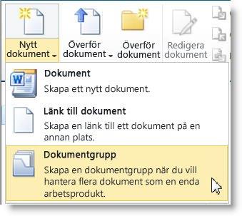 Kommandot Dokumentgrupp på menyn Nytt dokument