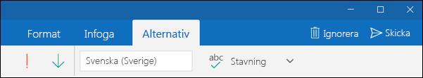 Fliken Alternativ i Outlook-e-post