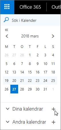 En skärmbild visar områden för dina kalendrar och andra kalendrar i navigeringsfönstret.