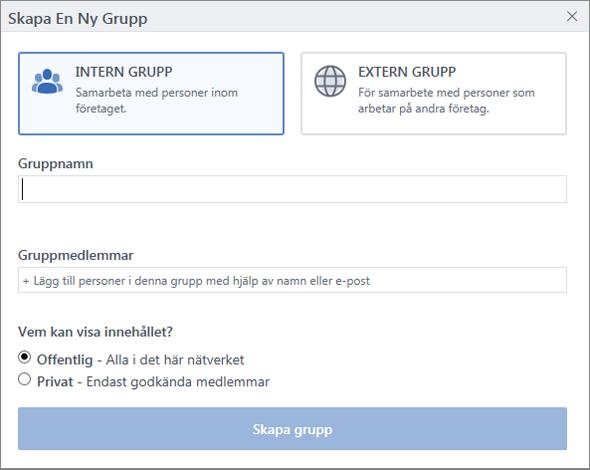 Dialogrutan Skapa grupp