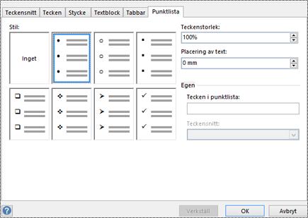 Fliken Punktlista med olika punktformat i Visio.