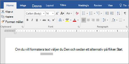 Menyfliksområdet i Word med alternativ för att formatera text