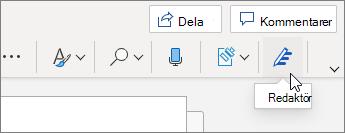 På fliken Start väljer du Editor