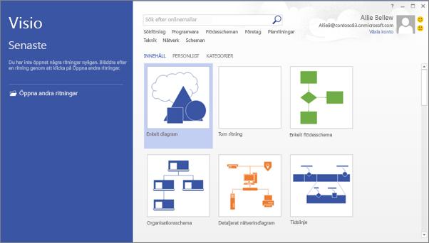 Använd Visio för att skapa flödesdiagram, planritningar, tidslinjer och andra typer av ritningar