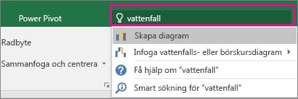 Rutan Berätta med vattenfallstext och resultat i Excel 2016 för Windows
