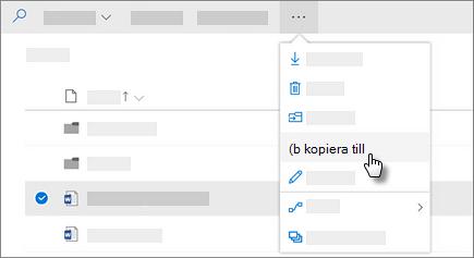 Skärmbild som visar kommandot Kopiera till i OneDrive för företag