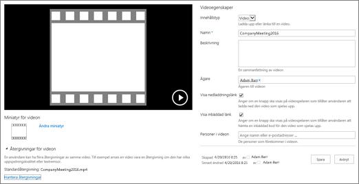 Sida med videoegenskaper
