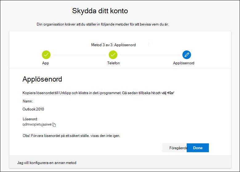 Sidan Applösenord, med lösenord för kopiering