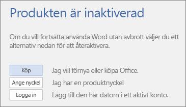 Skärmbild som visar felmeddelandet Produkten är inaktiverad