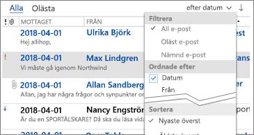 Listan över tillgängliga filter för att sortera meddelanden